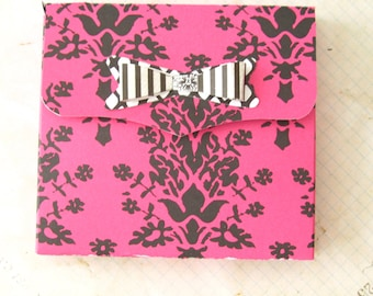 Hot pink and black Favor Boxes- Damask favor boxes w/bow QTY 15  party favors gift packaging, Fuchsia wedding favor box 3.5 in sq x 1/2 deep