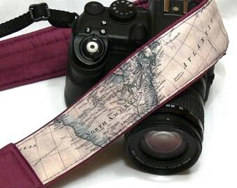 Camera Strap. World Map Camera Strap. Personalized Camera Strap. Padded Purple DSLR Camera Strap with Pocket. Valentines Day Sale