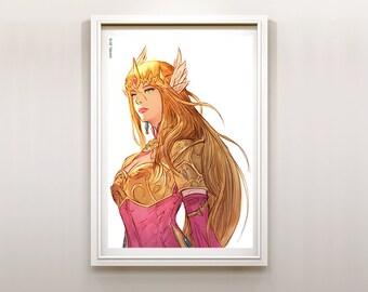 The Legend of Zelda Princess Zelda of Hyrule Art Print Poster (Bright Colors)
