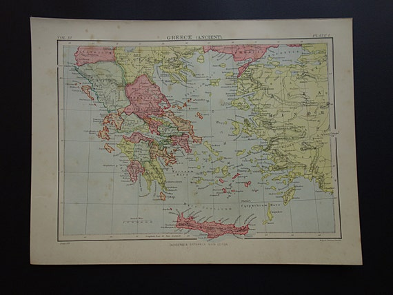 Greece vintage map original 1880 old english printposter of gumiabroncs Image collections