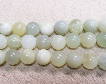 Pale Green Shades of New Jade Gemstone Smooth Round Beads 10mm Last One