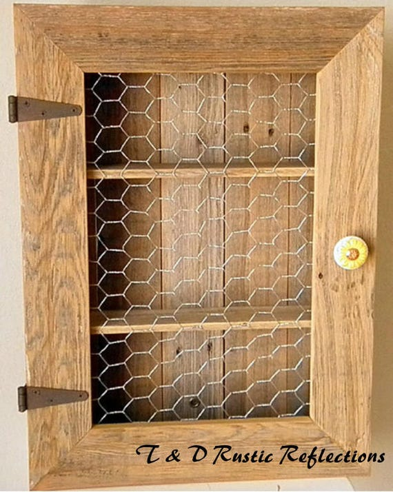 Delightful Country Cabinet/Rustic Spice Cabinet With Chicken Wire/Country