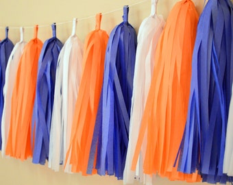 Finding Nemo party tassels - Nemo party decor - Tassel garland - orange and blue garland