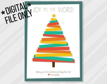 Christmas Card, minimal, abstract, modern, Christmas tree *digital file only*