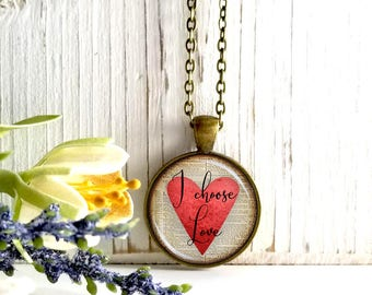 Round Medium Glass Bubble Pendant Necklace-I Choose Love On Red Heart Book Page