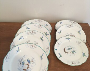 Set of 7 Bluebird or Lovebird Plates by Jackson and Gobling Grosvenor China