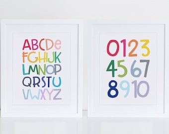 Alphabet and Numbers Art Print, Art Print, Instant Download, Nursery Art Print, Alphabet Letters, Colorful, Alphabet Wall Decor, ABC