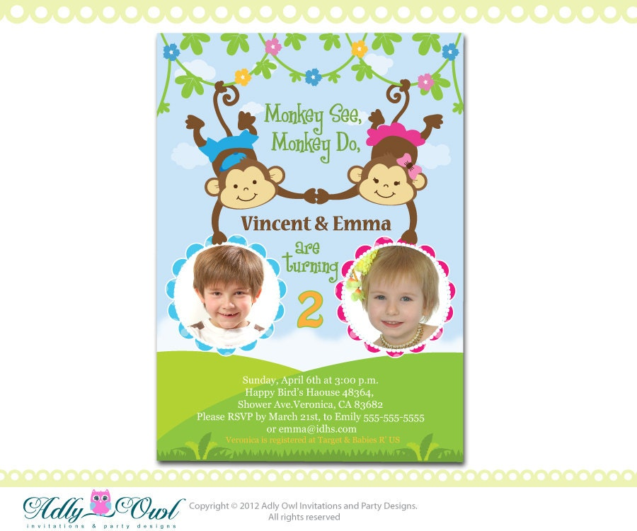 Personalized Twin Invite Second Birthday Invitation card for