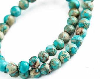25%OFF 6mm Aqua Ocean Terra Jasper beads round turquoise green brown jewelry DIY supplies gemstone semiprecious bead 10pcs