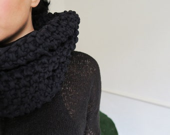 Knit oversized jersey snood, chunky oversizes snood, cosy neck warmer, cotton cowl, loop scarf, women's neck warmer, men's neck warmer