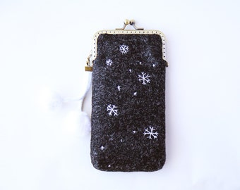 Let it snow iPhone Case/Glasses Case Wool and Embroidery ( iPhone X, iPhone 8, iPhone 8 Plus, Samsung Galaxy S8 etc. )