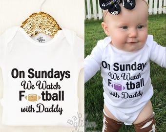 Baby Girl Football, On Sundays We Watch Football with Daddy, Daddy's MVP, Sunday Night Football, Girl Football Shirt, Baby Girl Clothes