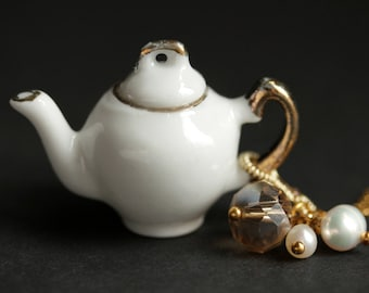 Porcelain Teapot Necklace. White Tea Pot Necklace with Crystal and Pearl Charms. Miniature Teapot Necklace. Gold Necklace. Handmade Jewelry.