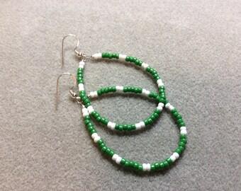 Earrings Forest Green White Seed bead Teardrop loop Sterling Silver CL1618A