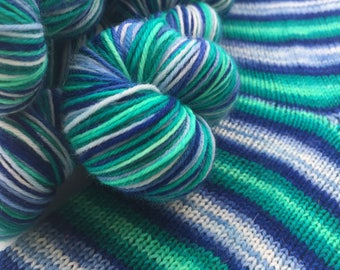 Hand dyed self striping merino sock yarn - Lost at Sea