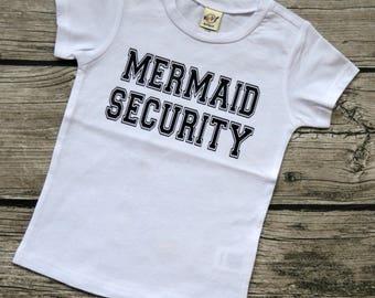 Mermaid Security - Baby boys  Infants Merman theme Vinyl Graphic Tee Shirt Multiple Colors Sizes 6-24 months