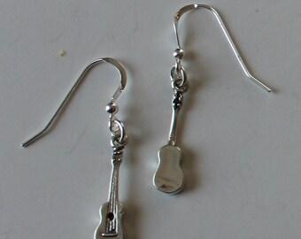 Sterling Silver 3D UKELELE Earrings - Music, Musician