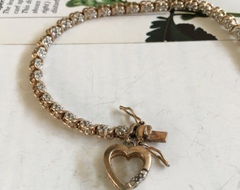 "SB12 Ross Simons gold over Sterling silver "" I love you "" heart charm bracelet"