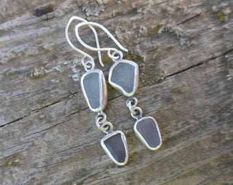 Lavender and White Bezel Set Sea Glass Dangle Earrings