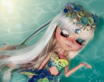 OOAK - Blue Mermaid Outfit for Pullip T4 and and Obitsu SBH - S