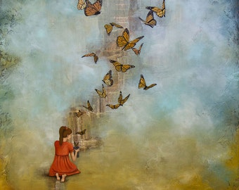 Butterfly Giclee, Girl Releasing Butterflies, titled Made New, Limited Edition Paper Print