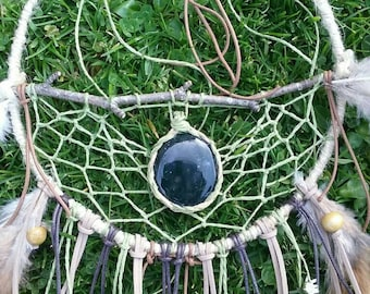 Dreamcatcher wood from the forest. Dreamcatcher Fairies. Dreamcatcher Álma free. Mossy Agate. Spiritual decoration. Protector of Dreams.