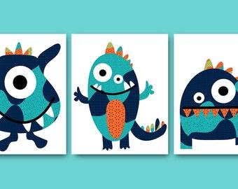 Monsters Nursery Baby Nursery Decor Baby Boy Nursery Kids wall art Kids Art Baby Room Decor Nursery Print Set of 3 monsters blue orange /