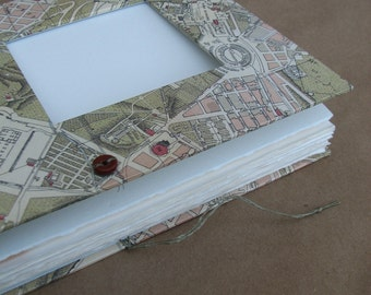 Large Travel Journal with Pockets and Vintage Map of Rome for Art, Journaling, Photos and Ephemera - Ready to Ship