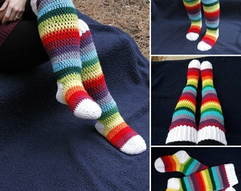 Rainbow socks, slipper socks, ready to ship socks, cozy, Cosplay socks