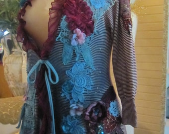 Art to Wear Burgundy and Teal, Jacket, Hand Dyed, Tattered, Shabby Chic, Boho,  Fantasy, Unique , Romantic.