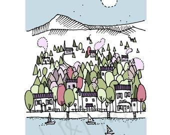 A5 Landscape Art Print - Riverside Print - Canal Artwork - Home Decor