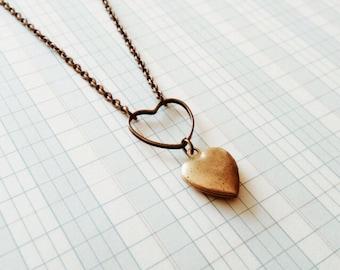 heart locket necklace | little heart locket | brass hearts | portland oregon | child size