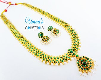 Golden Green Traditional Long Kemp Necklace Set Jewelry