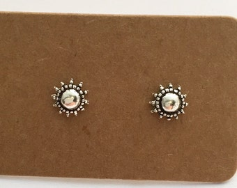 Sterling Silver Sun Stud Earrings, FREE SHIPPING Sun silver earrings 925 silver minimlaist gift for her boho silver stud earrings