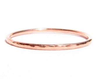 14k Solid Rose Gold Stacking Ring - Thin Wedding Band - Hammered Rose Gold - Wedding Ring - Thin Gold Ring - Pink Gold - Thin Hammered Ring.