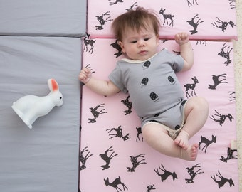 Baby Playmat, Play Mat, Baby Play Mat, Travel Play Mat, Padded Play Mat, Padded Playmat, Folding Play  with bambi print in grey and pink