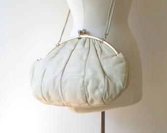 Vintage Judith Leiber Purse/Large Ivory Snakeskin Leather Purse/Creme Snakeskin Leather Handbag/Shoulder Strap/Large Size Purse