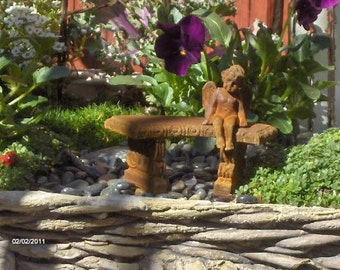 Minaiture Fairy garden bench with cherub