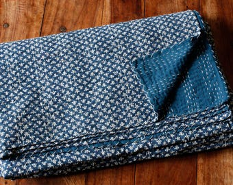 Block Print Indigo Dyed Kantha Bed Cover