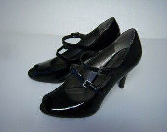 """Vintage Connie Shoes, Black Patent Leather, Peep Toe Heels, No Size, 9.5""""  Heel To Toe, Width 3.25"""", Some Wear On Inner Lining. Heels 3.25"""""""