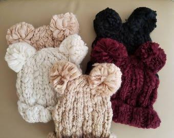 Chunky Yarn Thread Knit Beanie with Pom Poms
