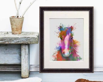 Horse art decor - Horse portrait 2 print - Horse art on canvas Horse wall art print Horse lover Horse decor art Canvas horse art UK seller