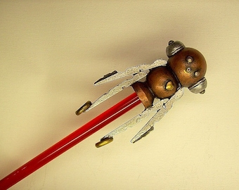 Robot Rocket Boy Cane with Wood Top Sculpture and Ruby Red or Clear Walking Stick