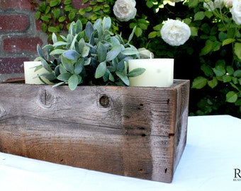 Medium Size Rustic Table Centerpiece, Rustic Table Decor, Reclaimed Wood, Flowers, Succulents, Ball Jars