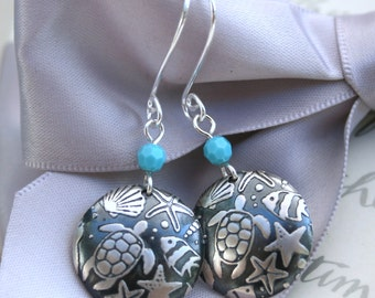 Ocean Life earrings Sterling Silver with Swarovski Elements accents