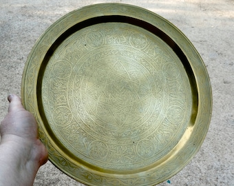 antique brass tray // middle east tray // Islamic tray //  platter // tea tray // vintage  cs