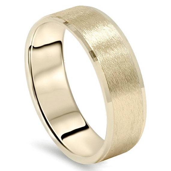 14 Karat Bands: Mens Yellow Gold Wedding Band 14 Karat Ring 6MM Flat Brushed