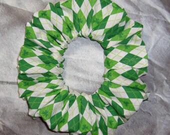 Shamrock/Clover Hair Scrunchie, Ponytail Holder, Themed Fabric Hair Tie, St. Patrick's Day Argyle