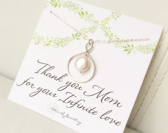 Mother of the bride gift, message card, mother of the groom, mothers day card, pearl necklace, infinity necklace, otis b, mothers day gift,
