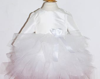 Baptism  dress in white taffeta and tulle - Lydie